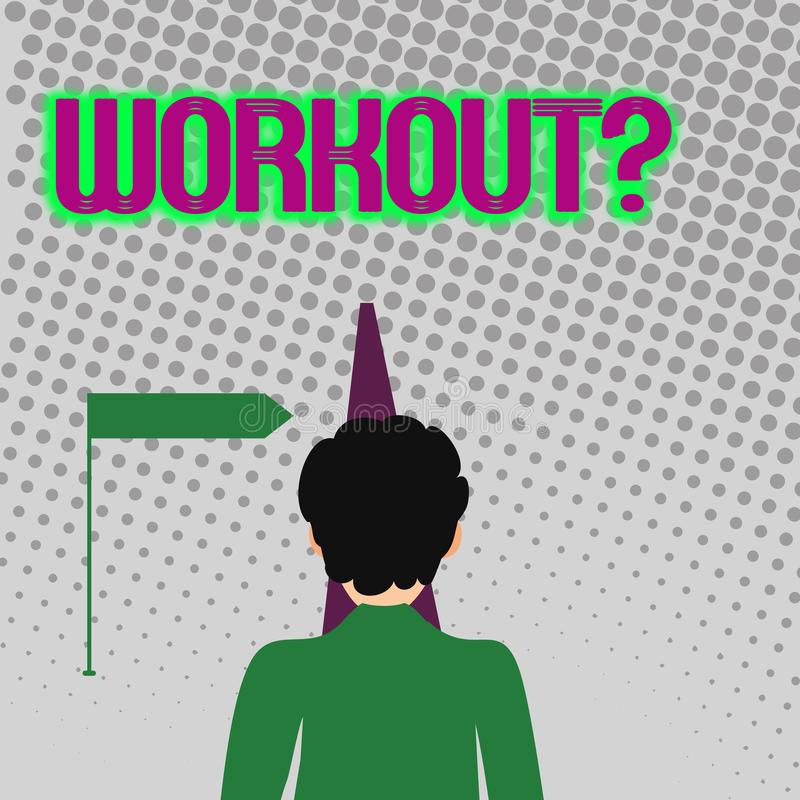 Handschrifttekst die Workoutquestion schrijven Concept die Activiteit voor wellness bodybuilding opleiding betekenen uitoefenend  stock illustratie