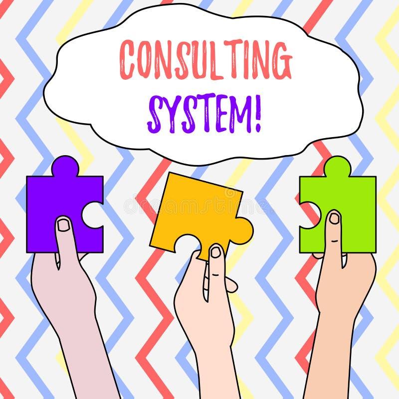 Handschrifttekst het Raadplegen Systeem Concept die Helpend firma's procesgeschiktheid en functionaliteit Drie verbeteren beteken royalty-vrije illustratie