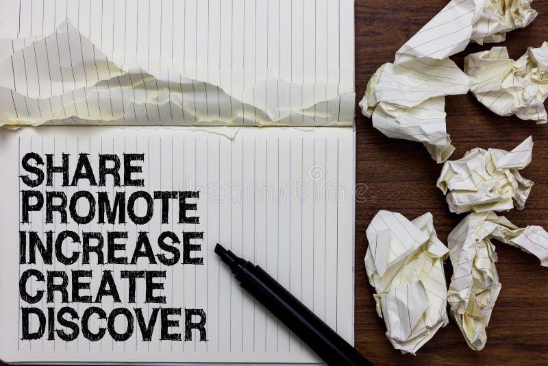 Handschrifttekst het schrijven het Aandeel bevordert Verhoging creeert ontdekt Concept die Op de markt brengend de Teller van de  stock foto's