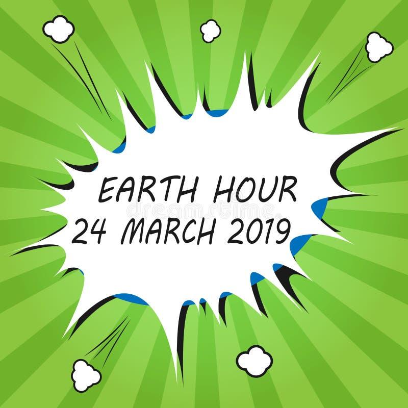 Handschrifttekst het schrijven Aardeuur 24 Maart 2019 De conceptenbetekenis viert Duurzaamheid weg sparen de Planeetlichten royalty-vrije illustratie