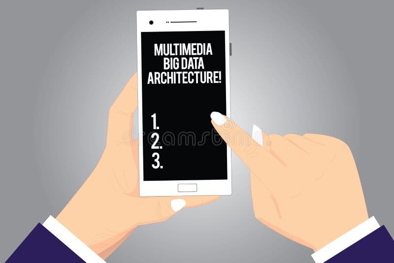 Handschrifttekst het schrijven Architectuur de Van verschillende media van Big Data Concept die Online informatietechnologie netw vector illustratie