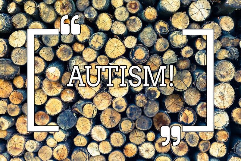 Handschrifttekst het schrijven Autisme Concept die die Autismevoorlichting betekenen door sociale commissie rond de Houten bol wo royalty-vrije illustratie