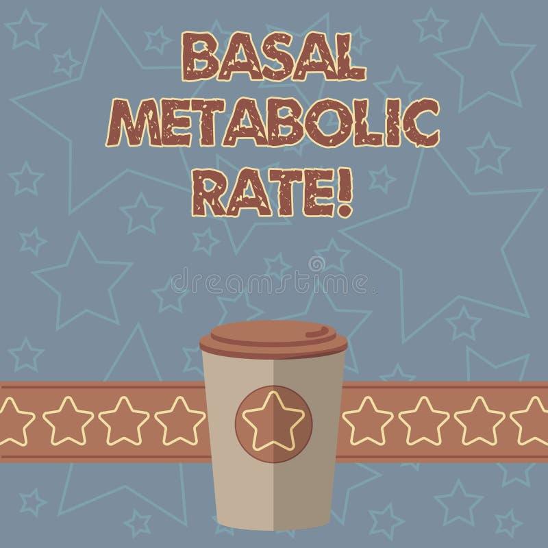 Handschrifttekst het schrijven Basaal metabolisme Het concept die Minimumenergieniveau betekenen vereist om te ondersteunen essen stock illustratie