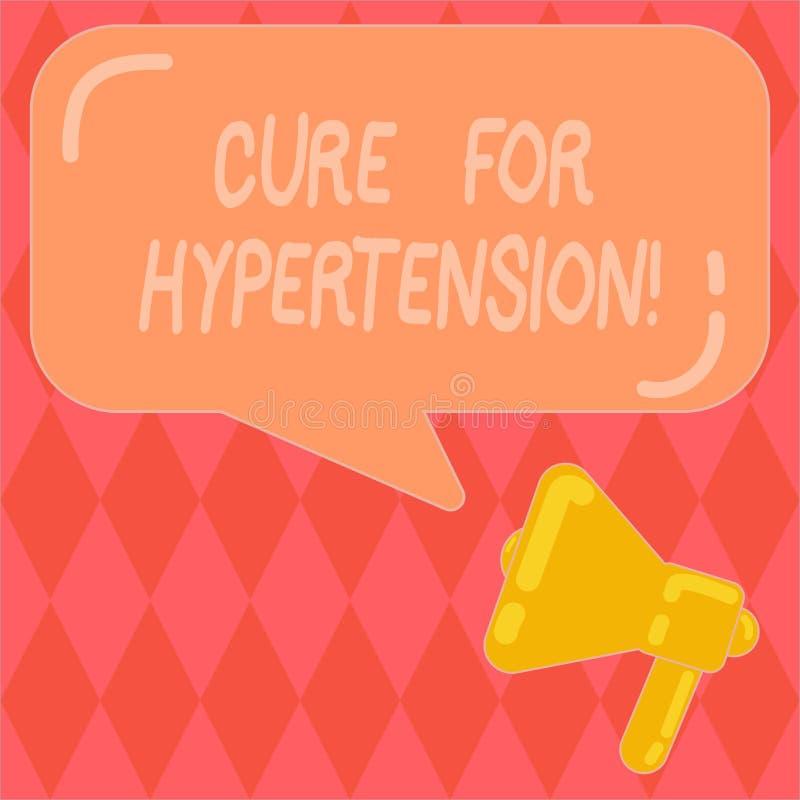 Handschrifttekst het schrijven Behandeling voor Hypertensie Concept die Ertoe brengend behandeling om de bloeddrukmegafoon te ver vector illustratie