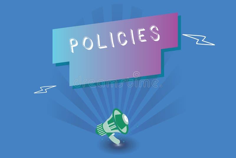 Handschrifttekst het schrijven Beleid Concept die cursus of principe van actie betekenen die door organisatie wordt goedgekeurd o stock illustratie