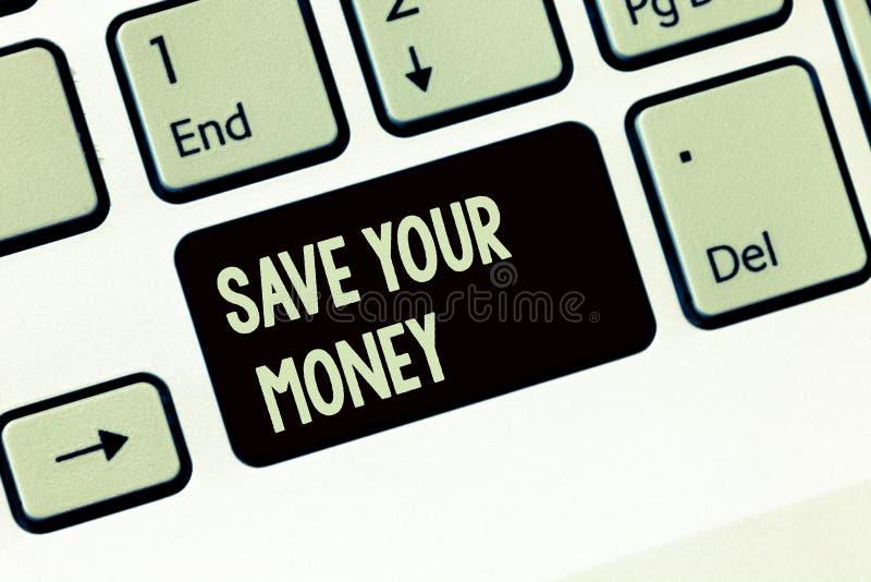 Handschrifttekst het schrijven bespaart Uw Geld De conceptenbetekenis houdt uw besparingen in bank of de te beschermen voorraad h royalty-vrije stock afbeeldingen