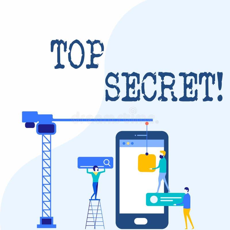 Handschrifttekst het schrijven Bovenkant - geheim Concept die hoogste informations of de plaatsen van secrec hoogst vertrouwelijk vector illustratie