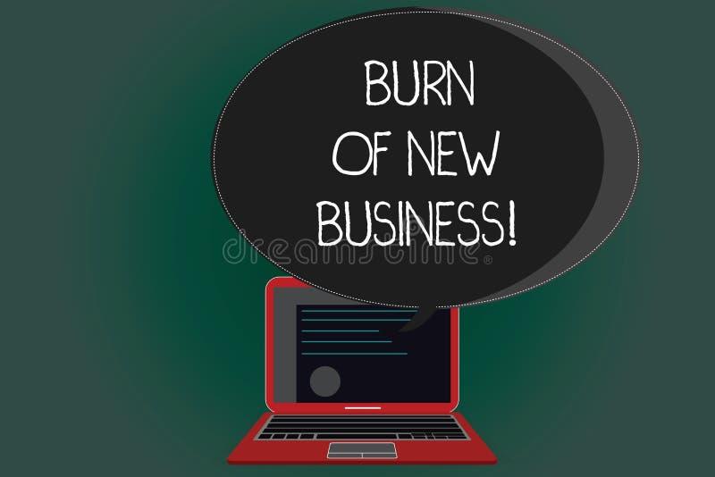 Handschrifttekst het schrijven Brandwond van Nieuwe Zaken Het concept die Hoeveelheid maandelijks contant geldgeld het betekenen  royalty-vrije illustratie