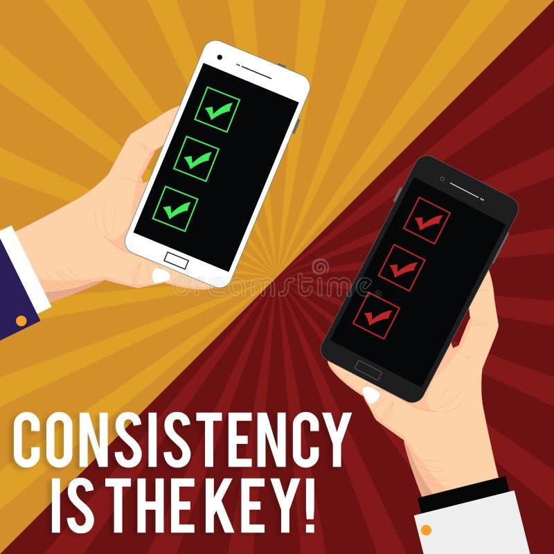 Handschrifttekst het schrijven de Consistentie is de Sleutel Concept die Volledige Toewijding betekenen aan een Taak een gewoonte stock illustratie