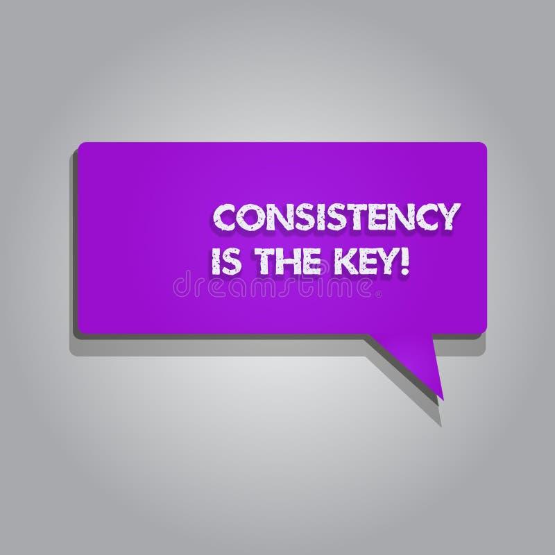 Handschrifttekst het schrijven de Consistentie is de Sleutel Het concept die volledige Toewijding betekenen aan een Taak gewoonte stock illustratie