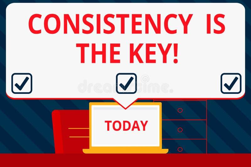 Handschrifttekst het schrijven de Consistentie is de Sleutel Conceptenbetekenis door Breaking Bad-Gewoonten en het Vormen van Goe royalty-vrije illustratie