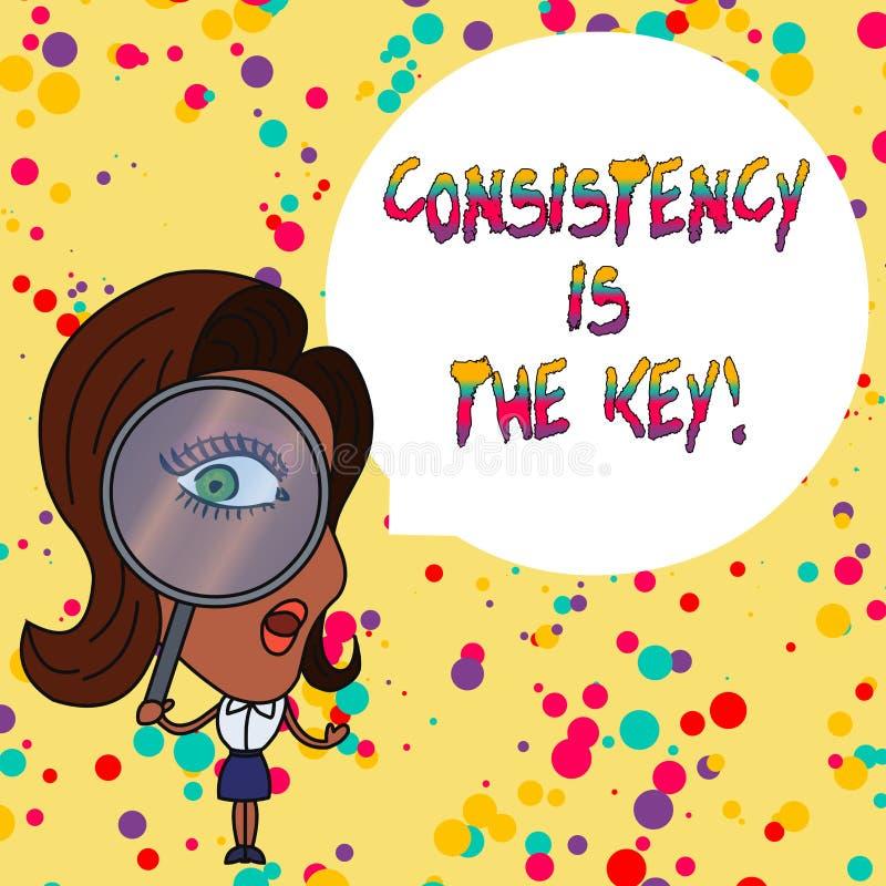 Handschrifttekst het schrijven de Consistentie is de Sleutel Conceptenbetekenis door Breaking Bad-Gewoonten en het Vormen van Goe stock illustratie