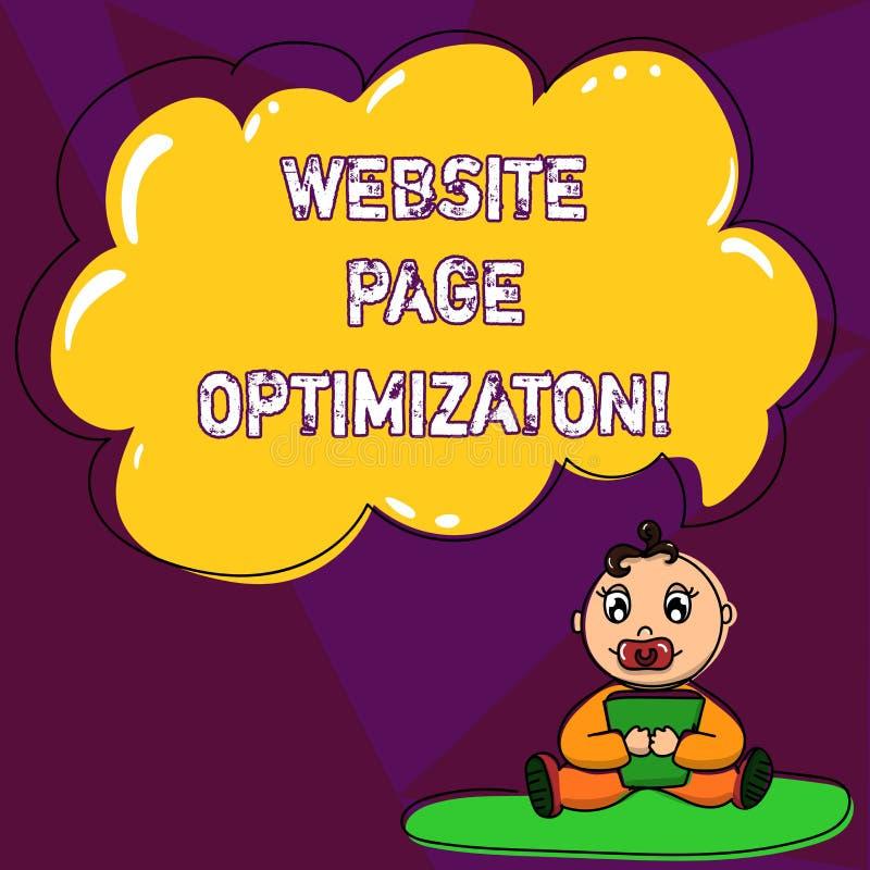 Handschrifttekst het schrijven de Optimalisering van de Websitepagina De Verhoging van de conceptenbetekenis zijn van het zoekmac royalty-vrije illustratie