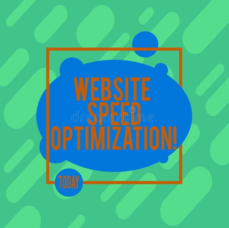 Handschrifttekst het schrijven de Optimalisering van de Websitesnelheid De conceptenbetekenis verbetert websitesnelheid om bedrij vector illustratie