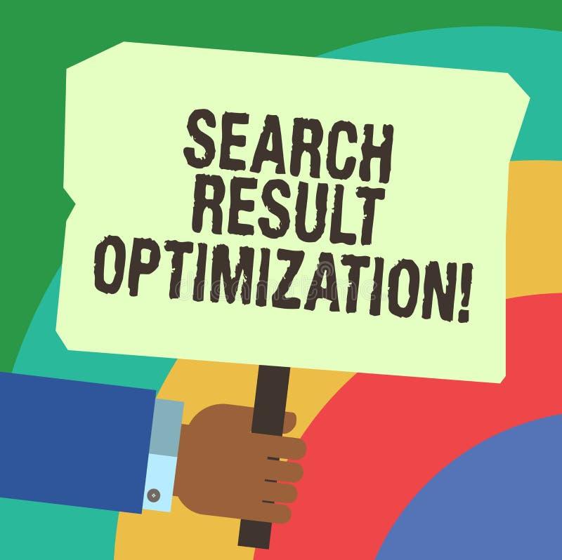 Handschrifttekst het schrijven de Optimalisering van het Zoekenresultaat Concept die kwekend zicht in zoekmachineresultaten HU be vector illustratie