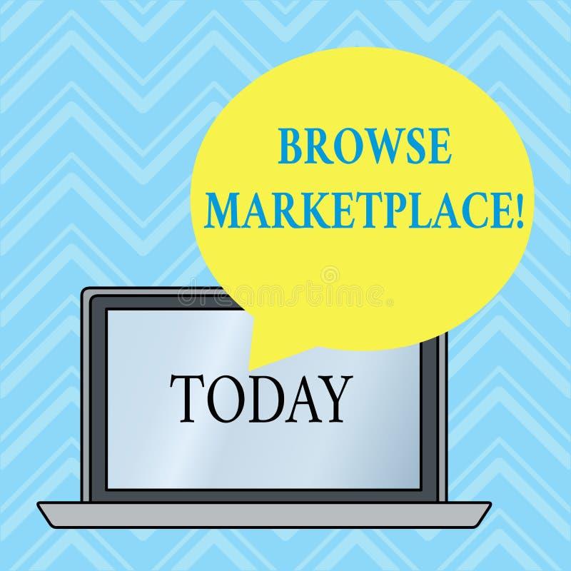 Handschrifttekst het schrijven doorbladert Markt Concept betekenen die door een reeks van informatie in de marktronde kijken vector illustratie