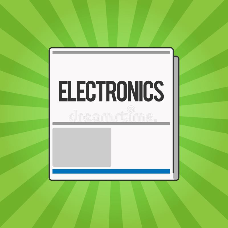 Handschrifttekst het schrijven Elektronika Concept die Kringen of apparaten betekenen die het digitale apparaat van transistorsmi royalty-vrije illustratie