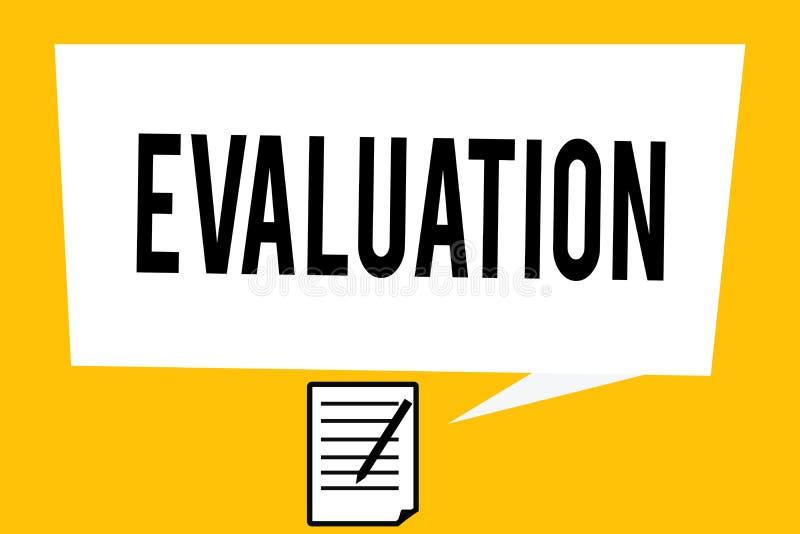 Handschrifttekst het schrijven Evaluatie Het concept die Oordeelterugkoppeling betekenen evalueert de kwaliteit perforanalysisce  stock afbeelding