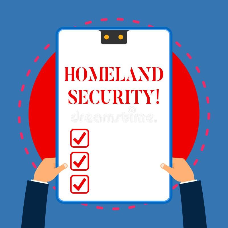 Handschrifttekst het schrijven Geboortelandveiligheid Concept die federaal die agentschap betekenen wordt gebouwd om de V.S. tege royalty-vrije illustratie
