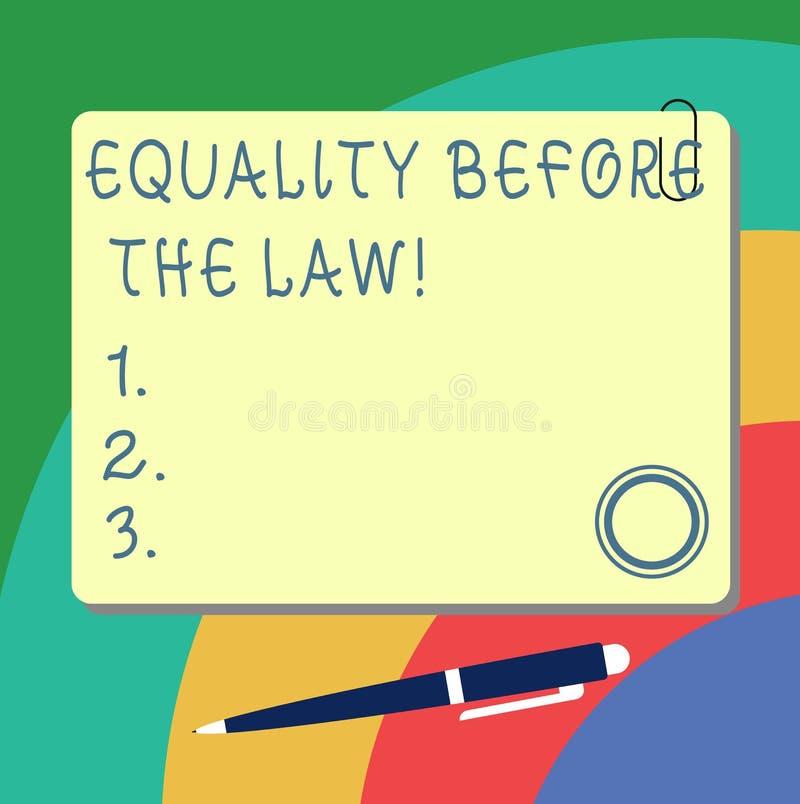 Handschrifttekst het schrijven Gelijkheid vóór de Wet Concept die de beschermings gelijke rechten van het Rechtvaardigheidssaldo  stock illustratie