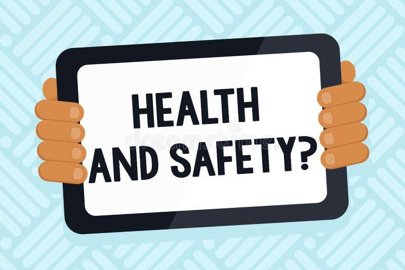 Handschrifttekst het schrijven Gezondheid en Veiligheidsvraag Concept die verordeningen en procedures betekenen om ongeval te ver stock illustratie