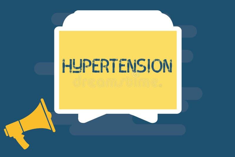 Handschrifttekst het schrijven Hypertensie Concept die Medische voorwaarde betekenen waarin de bloeddruk uiterst hoog is stock illustratie