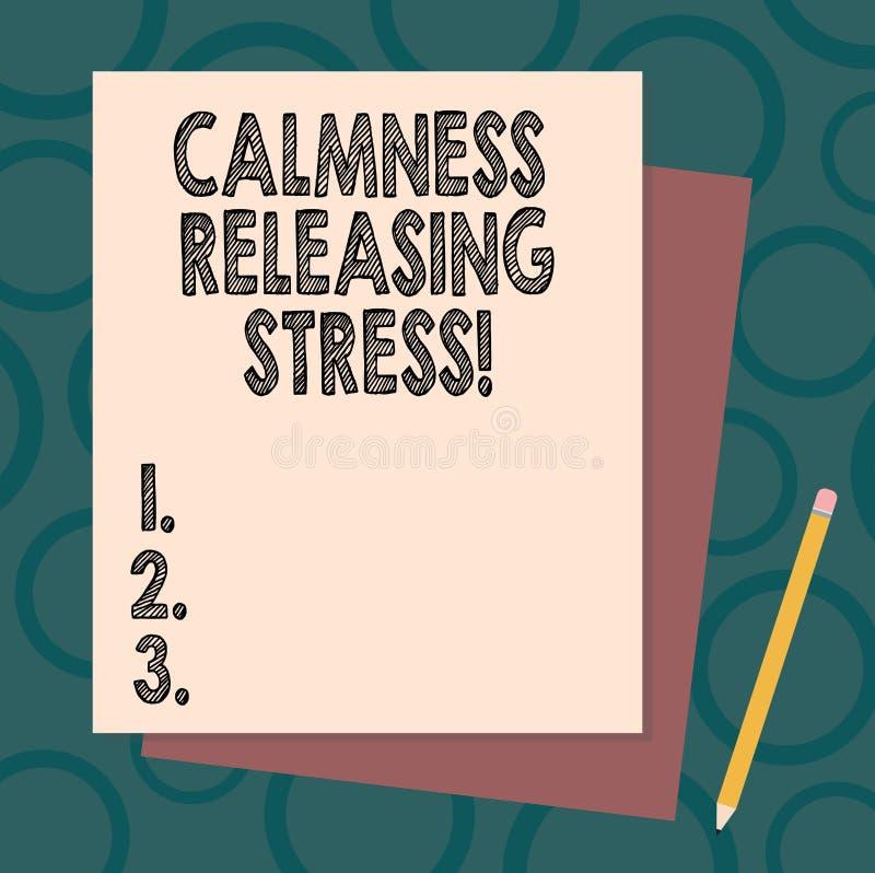 Handschrifttekst het schrijven Kalmte die Spanning vrijgeven Concept die analysisagespanning en het lood gelukkigere gezondere le stock illustratie
