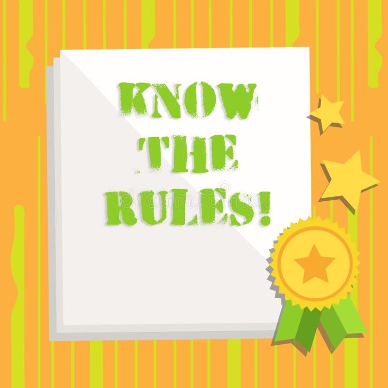 Handschrifttekst het schrijven kent de Regels De conceptenbetekenis begrijpt termijnen en de voorwaarden krijgen juridisch advies stock illustratie