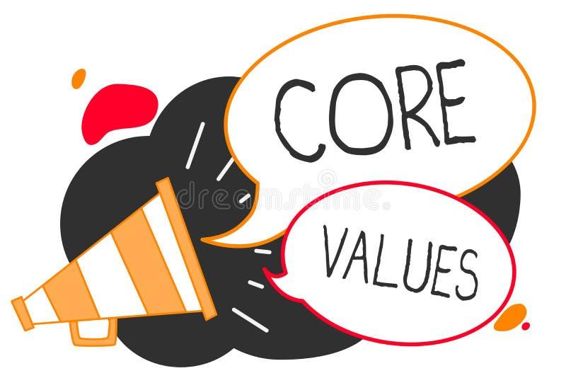 Handschrifttekst het schrijven Kernwaarden Concept dat van de geloofspersoon of organisatie meningen betekent zoals zijnd belangm vector illustratie