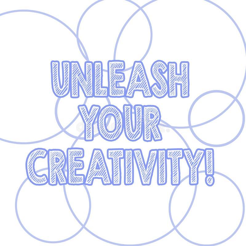 Handschrifttekst het schrijven laat Uw Creativiteit los Concept die het Krijgen in aanraking betekenen wat u ongeveer hartstochte vector illustratie