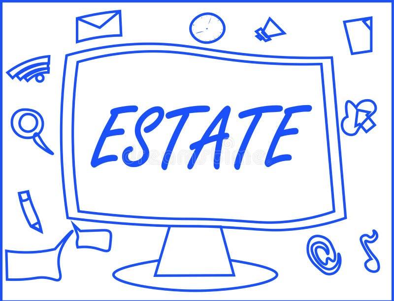 Handschrifttekst het schrijven Landgoed Concept die uitgebreid die gebiedsland in land gewoonlijk met huis betekenen door één per stock illustratie