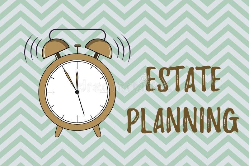 Handschrifttekst het schrijven Landgoed Planning Concept die het beheer en de verwijdering van het landgoed van die persoon betek vector illustratie