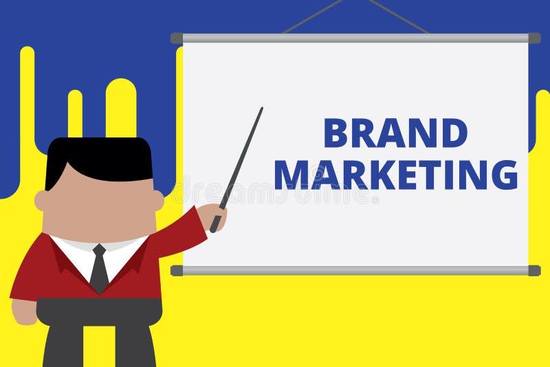 Handschrifttekst het schrijven Merk Marketing Concept die Creërend voorlichting over producten rond de wereldzakenman betekenen vector illustratie