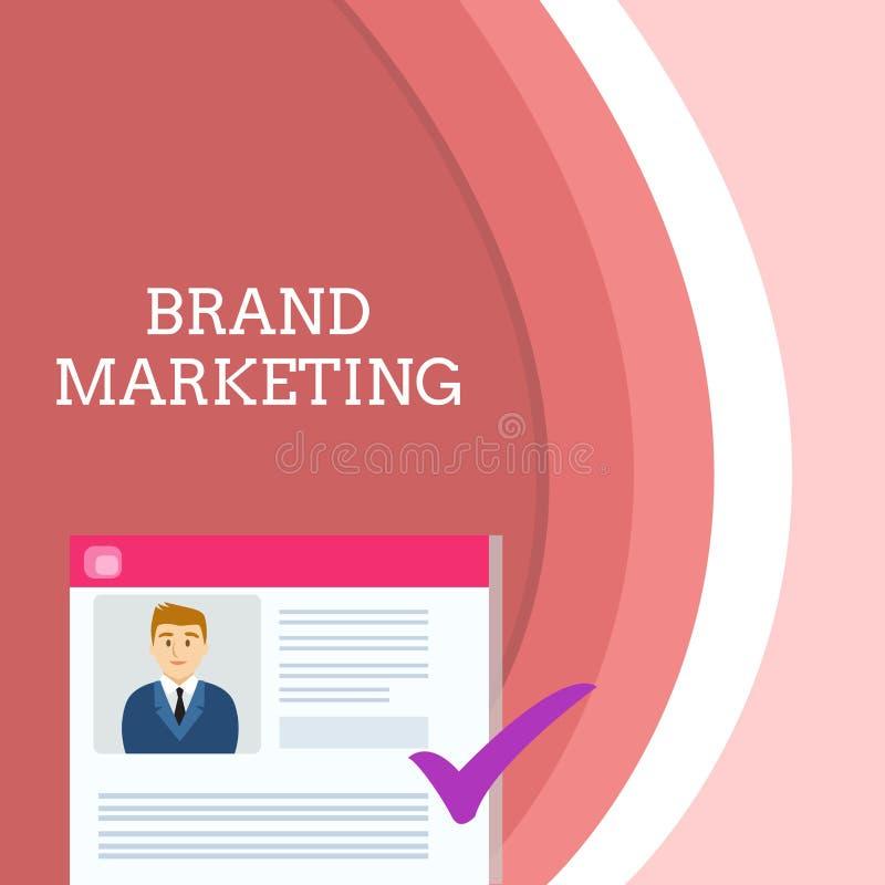 Handschrifttekst het schrijven Merk Marketing Concept die Creërend voorlichting over producten rond het wereldleerplan betekenen stock illustratie