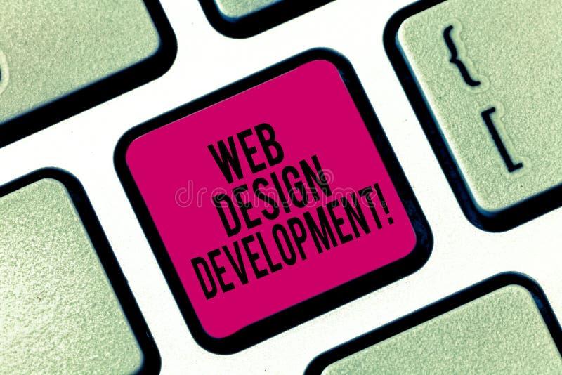 Handschrifttekst het schrijven Ontwikkeling van het Webontwerp Concept die ontwikkelt websites voor het ontvangen via Intranettoe stock afbeelding