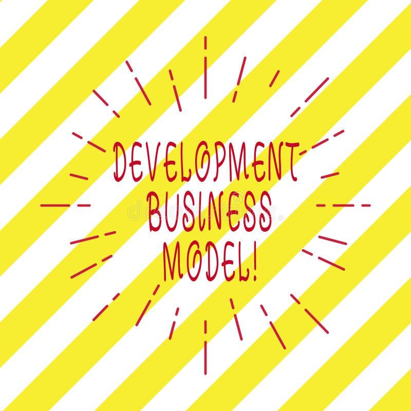 Handschrifttekst het schrijven Ontwikkelings Bedrijfsmodel Concept die reden betekenen van hoe een organisatie Dunne Straal creee stock illustratie