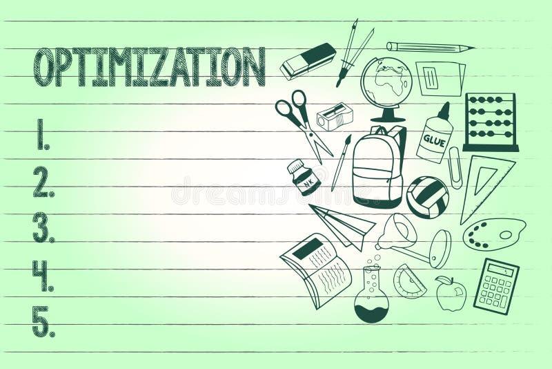 Handschrifttekst het schrijven Optimalisering Concept die Makend het beste of meest efficiënte gebruik van een situatiemiddel bet vector illustratie