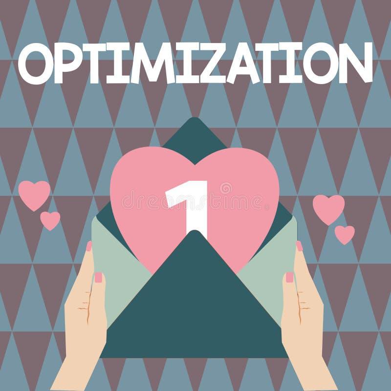 Handschrifttekst het schrijven Optimalisering Concept die Makend het beste of meest efficiënte gebruik van een situatiemiddel bet stock illustratie