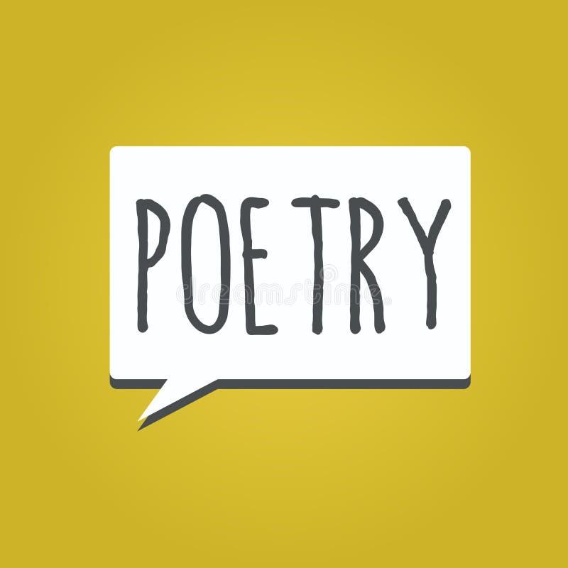 Handschrifttekst het schrijven Poëzie Concept die het literaire werk betekenen waarin uitdrukking van gevoel en ideeën die ritme  royalty-vrije illustratie