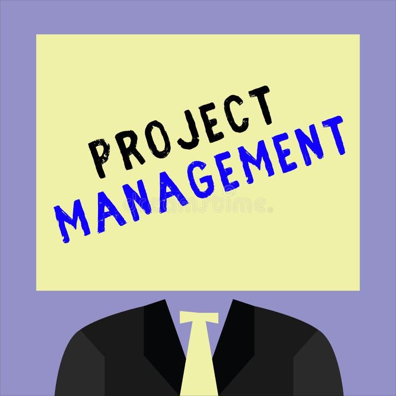 Handschrifttekst het schrijven Projectleiding Concept die de Vaardigheden van het Toepassingsproces betekenen om Doelen en Doel t royalty-vrije illustratie