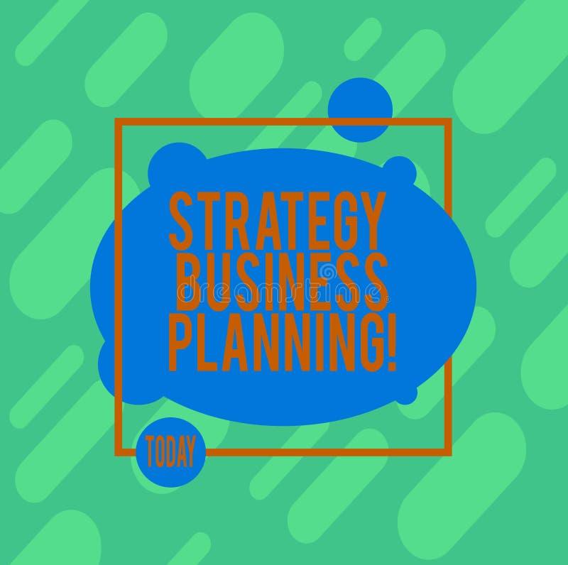 Handschrifttekst het schrijven Strategie Bedrijfs Planning De conceptenbetekenis schetst een organisatie s algemene richting is royalty-vrije illustratie
