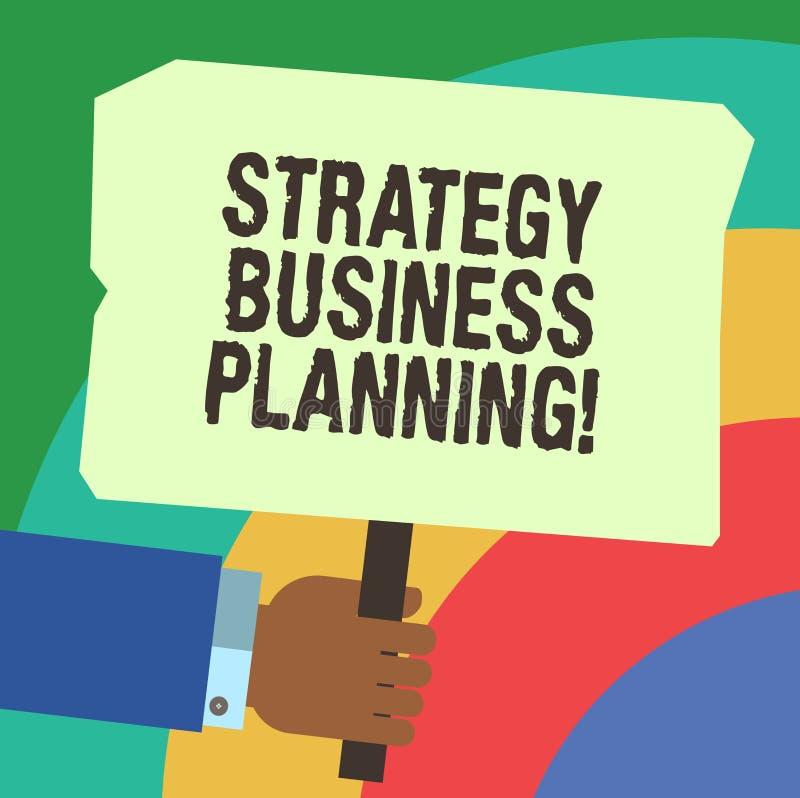 Handschrifttekst het schrijven Strategie Bedrijfs Planning De conceptenbetekenis schetst een organisatie s algemene richting HU i vector illustratie
