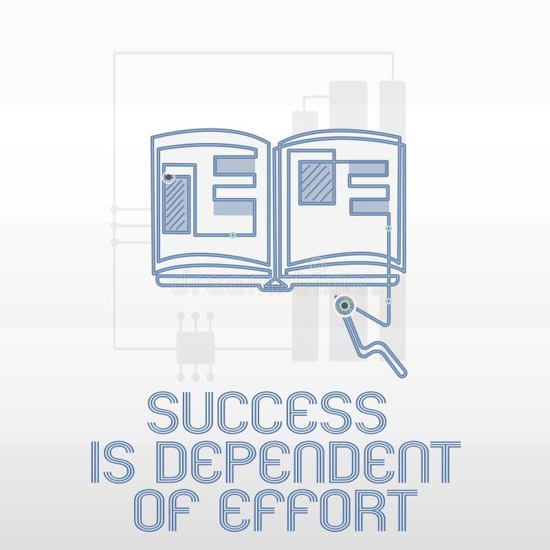 Handschrifttekst het schrijven het Succes is Afhankelijk van Inspanning De conceptenbetekenis levert inspanning om Blijvend Verbl royalty-vrije illustratie