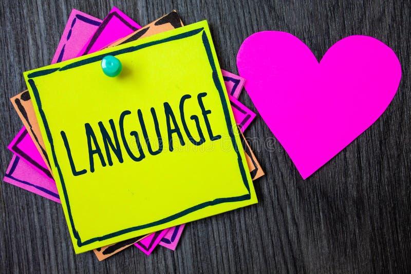 Handschrifttekst het schrijven Taal Concept die Methode van menselijke mededeling Gesproken Geschreven kleverige de Uitdrukkingsg stock afbeeldingen