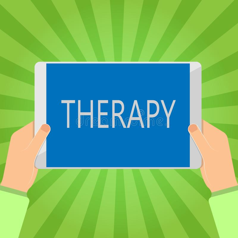 Handschrifttekst het schrijven Therapie Het concept die Behandeling betekenen bedoelde een wanordegezondheidszorg te verlichten o vector illustratie