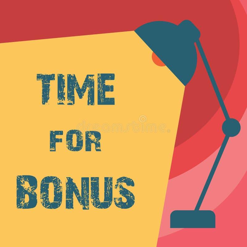 Handschrifttekst het schrijven Tijd voor Bonus Het concept die een som geld betekenen voegde aan persoons\ 's lonen toe als belon stock foto's