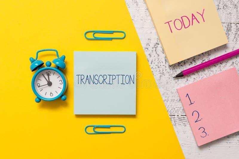 Handschrifttekst het schrijven Transcriptie Concept die Geschreven of gedrukte versie van iets betekenen Duurzame kopie van audio stock afbeeldingen