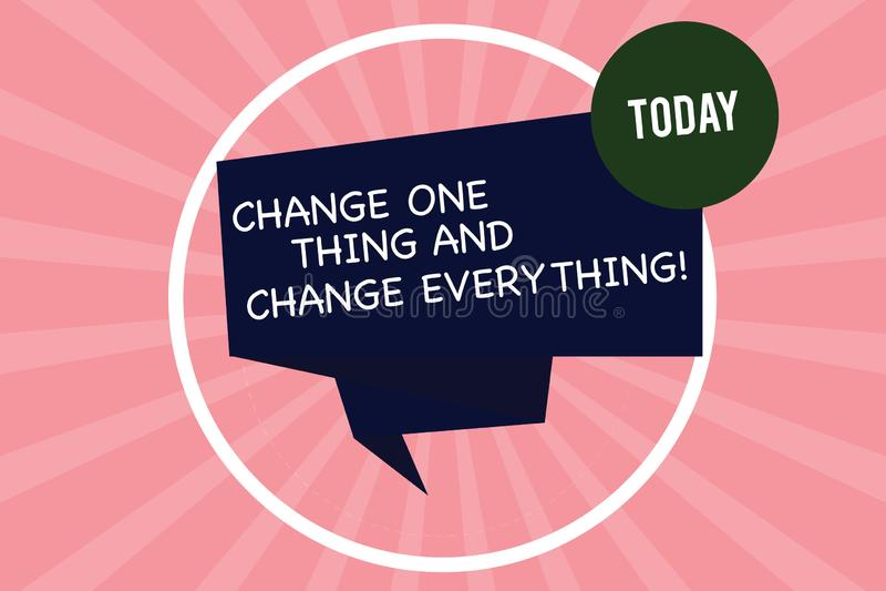 Handschrifttekst het schrijven Verandering Één Ding en Verandering alles Het concept die Kleine wijzigingen betekenen wijzigt al  vector illustratie