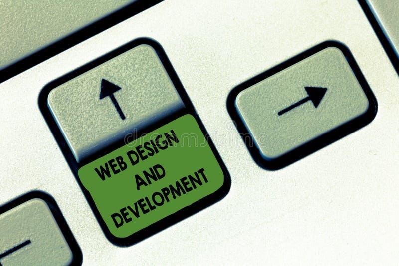 Handschrifttekst het schrijven Webontwerp en Ontwikkeling Concept die vaardigheden in Productie en Behoud van Websites betekenen royalty-vrije stock afbeelding
