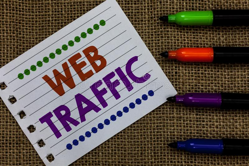 Handschrifttekst het schrijven Webverkeer Concept die Hoeveelheid gegevens betekenen die door bezoekers aan een Document IMP word stock afbeeldingen